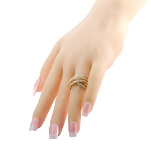 Odelia 18K Yellow Gold with 2.75ctw Diamond Crisscross Band Ring Size 7.25