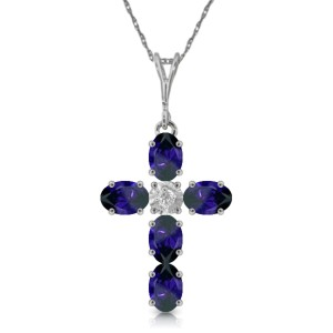 1.88 CTW 14K Solid White Gold Cross Necklace Natural Diamond Sapphire