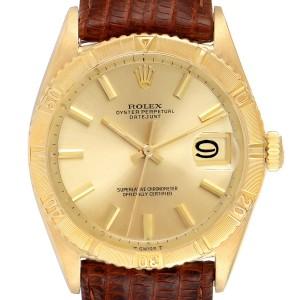 Rolex Datejust Turnograph 18K Yellow Gold Vintage Mens Watch 6609