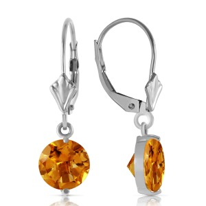 3.1 CTW 14K Solid White Gold Leverback Earrings Citrines
