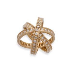 Cartier 18K Yellow Gold Trinity Diamond Ring Size: 5.25