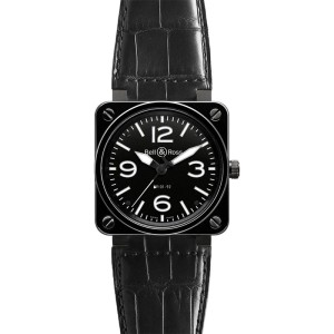 Bell & Ross BR01-92-CERAMIC Alligator Black Dial 46mm Watch