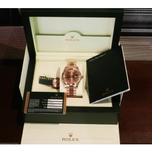 Rolex 218235 Day Date II Rose Brown Roman Dial President Watch