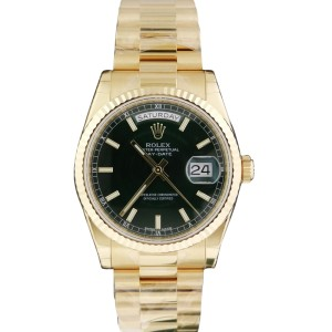 Rolex Day Date President 118238 BKSO 36mm 18k Yellow Gold Watch