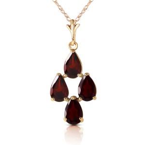1.5 CTW 14K Solid Gold Vine Burst Garnet Necklace