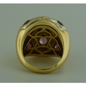 Bvlgari 18K Yellow and White Gold Pink Tourmaline Domed Cocktail Ring Size Medium