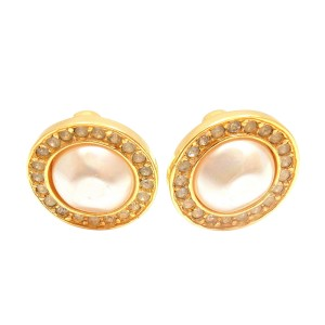 Chanel Gold Tone Simulated Glass Pearl & Crystal Stud Clip On Earrings
