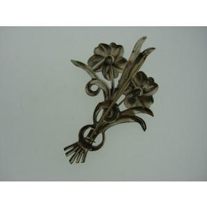 Sterling Silver Stamped Enamel Broosh Flower Bouquet