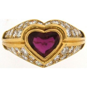 Bvlgari Yellow Gold Diamond & Ruby Vintage Ring