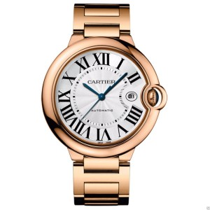 Cartier w69006z2 Ballon Bleu 18Kt Rose Gold Bracelet 42mm Watch