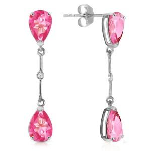 7.01 CTW 14K Solid White Gold Diamond Pink Topaz Dangling Earrings