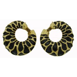 Marina B Metal Yellow Gold Signed Bold Hoop Earrings