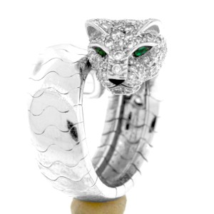 Cartier Panthere White Gold Emerald & Diamond Ring