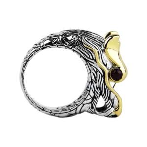 John Hardy Sterling Silver & 18K Yellow Gold Ruby Naga Dragon Ring Size 7