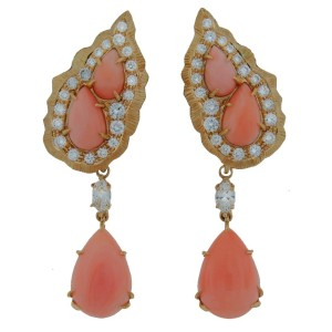 Cartier Yellow Gold Coral Diamond Earring