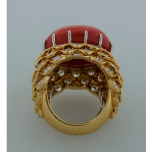 David Webb Coral Diamond Yellow Gold Ring