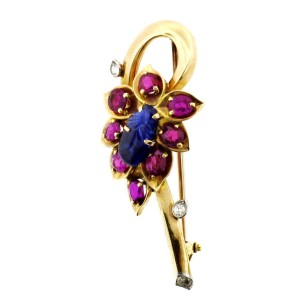 Cartier 14k Yellow Gold, Carved Sapphire, Ruby & Diamond Brooch