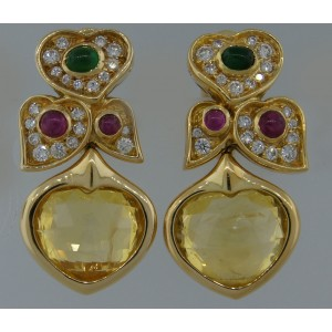 Bvlgari Heart Yellow Sapphire Diamond Gold Earrings