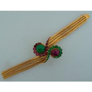 Ruby Emerald Yellow Gold Bracelet By Marchak Paris French Chic Feminine