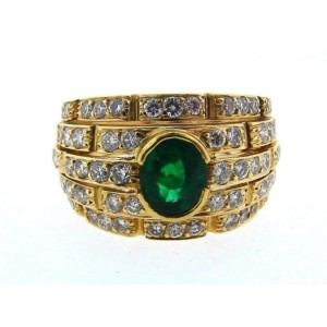 Cartier 18K 750 Yellow Gold Diamond Emerald Ring