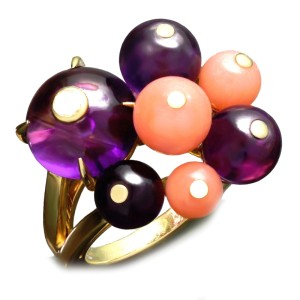 Cartier Les Delices De Goa Yellow Gold Diamond Amethyst Coral Bead Ring