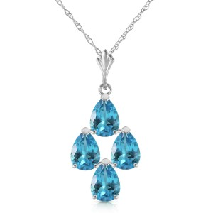 1.5 CTW 14K Solid White Gold Good Beginnings Blue Topaz Necklace
