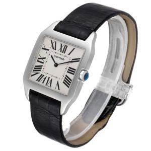 Cartier Santos Dumont Mens 18k White Gold Silver Dial Mens Watch W2007051