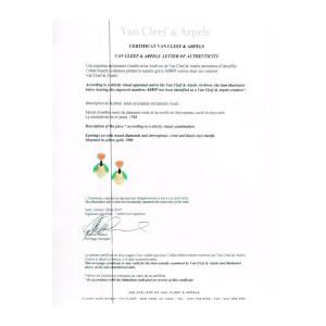 Van Cleef & Arpels Diamond Chrysoprase Coral Clip-on Earrings