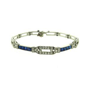 Tiffany & Co. Platinum Diamond Sapphire Bracelet