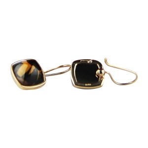 Baccarat Medicis Sterling Silver Vermeil Gold Brown Clear Mordore Wire Earrings