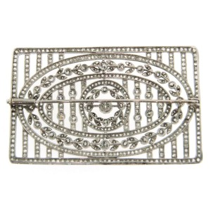Platinum Diamond Open-Work Pin Brooch