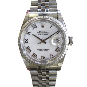 Rolex Oyster Perpetual Datejust Stainless Steel Roman Numeral Watch