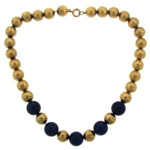 Tiffany & Co. Lapis Lazuli Yellow Gold Bead Strand Necklace