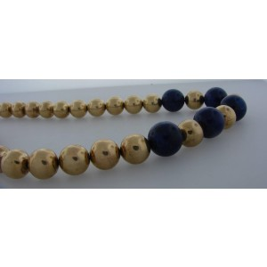 Tiffany & Co. Lapis Lazuli Yellow Gold Bead Strand Necklace