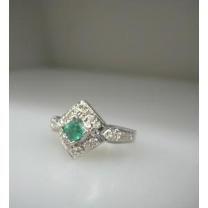 14K White Gold Aqua Emerald Stone / Diamonds Ring