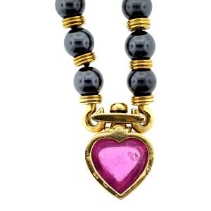 Bulgari 18K Yellow Gold Hematite & Pink Tourmaline Heart Necklace
