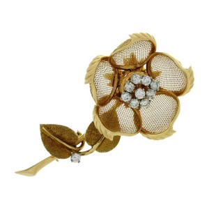 Cartier 18K Yellow Gold Diamond Rose Flower Movable Brooch