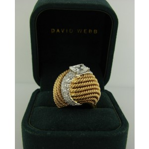 David Webb Diamond Platinum 18k Yellow Gold Vintage Ring