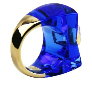 Baccarat 18K Yellow Gold and Blue Lead Crystal Ring 6.5