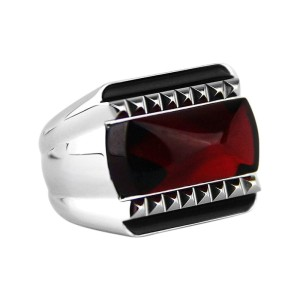 Baccarat Louxor Sterling Silver Red Mirror Ring Sz 6.5