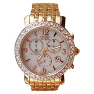 Citizen FB1293-50A Eco-Drive Swarovski Rose Gold Stainless Chrono Womens Watch