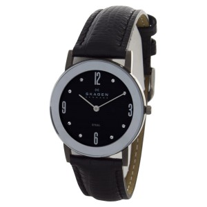 Skagen 39LMSM1 Black Dial Black Leather Band Watch
