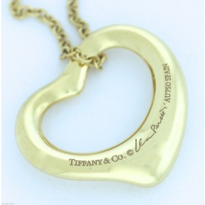 Tiffany & Co. 18K Yellow Gold with 0.04ct Diamond Open Heart Pendant Necklace
