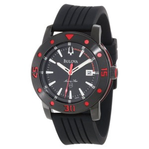 Bulova Marine Star 98B164 Black Dial Black Rubber Mens Watch