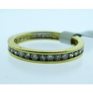 18K Yellow Gold Diamond Eternity Band Ladies Ring Size 6.75