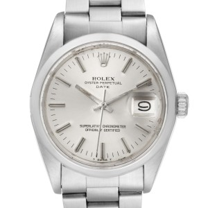 Rolex Date Stainless Steel Silver Dial Vintage Mens Watch 1500