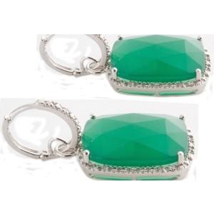 Sterling Silver Green Agate & Diamond Earrings