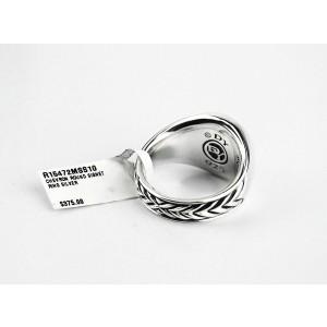 David Yurman 5R Sterling Silver Chevron Round Signet Ring Size 10
