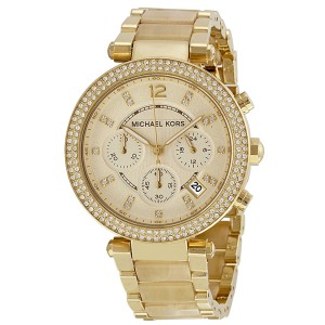 Michael Kors MK5632 Parker Champagne Dial Gold Tone Chronograph 39mm Womens Watch