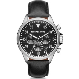 Michael Kors MK8442 Gage Chronograph Black Dial Black Leather 45mm Mens Watch